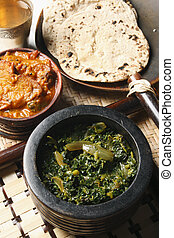 Saag Bhaji is Vegetarian delights of fresh choped spinach...