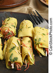 Khandvi A gram flour and buttermilk preparation from Gujarat...