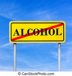 Alcohol abuse on a yellow traffic sign crossed through in...