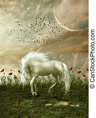 Fantasy landscape with horse flowers and birds