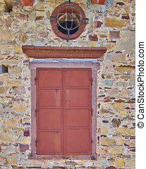 ox-eye window, old house detail - ox-eye vintage window, old...