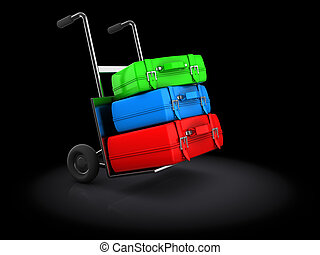 luggage on truck - 3d illustration of luggage truck over...