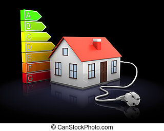 house energy levels - 3d illustration of house with power...
