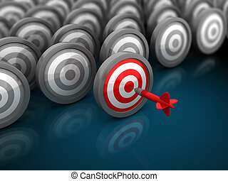 right target - 3d illustration of many targets with one red,...
