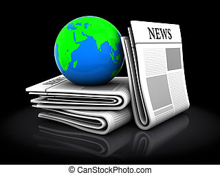 newspapers - 3d illustration of newspapers and earth globe,...