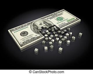 dollar assembling - abstract 3d illustration of dollar...