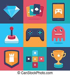Vector online and mobile game icons and signs - concepts for...
