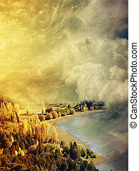 Fantasy Landscape in the clouds with lake