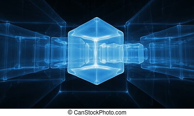 Neon Blue Ice Cubes Rotating - Animated abstract...