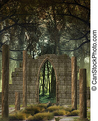 Fantasy Background in a forest with old structure