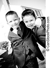 Two Happy Young Boys - Two happy young boys dressed in suits...
