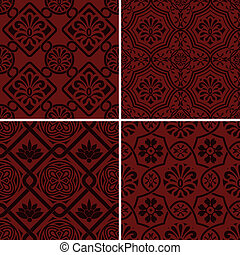 Vector seamless floral patterns, indian style - 4 Vector...
