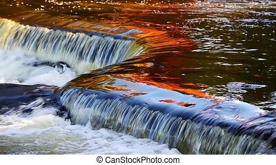 Bond Falls Reflecting Autumn Loop - Brilliantly colorful...