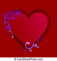 Heart illustration with curly floral design elements.