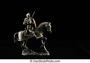 Trooper - Silver statue of a trooper with black background