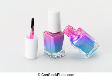 Nail polish - Colorful nail polish - white background, blue...