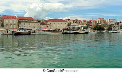 Trogir, Croatia cityscape ripple on water