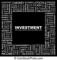 INVESTMENT. Word cloud concept illustration. Wordcloud...