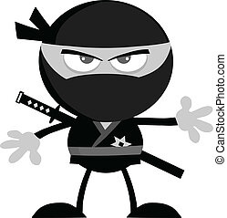 Ninja Warrior In Gray Color - Angry Ninja Warrior Cartoon...