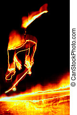 Skateboarder On Fire - Illustration of a skateboarder...