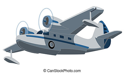 seaplane - Vector retro seaplane Illustration clip art