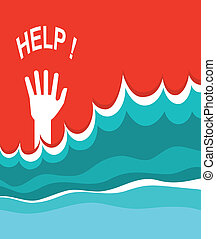 Hand of drowning poster Vector illustration of sea...