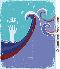 hand of drowning in blue sea waves.