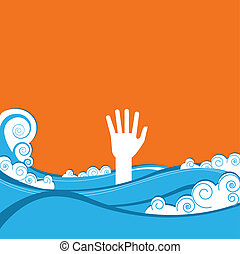 hand of drowning in blue sea waves.Vector illustration
