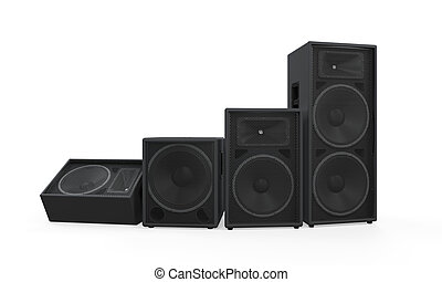 Group of Speakers isolated on white background. 3D render