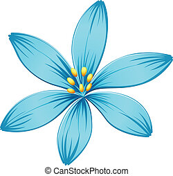 A blue flower - Illustration of a blue flower on a white...