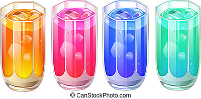 Four glasses of cocktail drinks - Illustration of the four...
