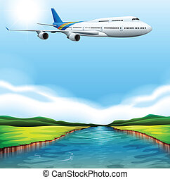A passenger plane flying - Illustration of a passenger plane...
