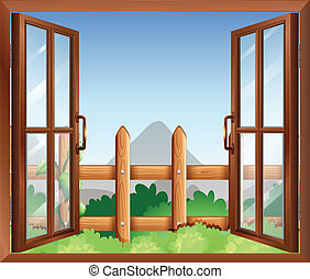 A window with a view of the backyard - Illustration of a...