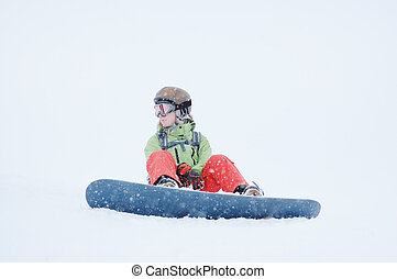 Portrait of a female snowboarder