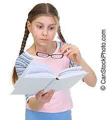 Girl with the book and eyeglasses - The girl with the book...