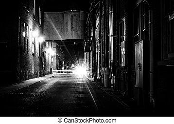 Dark alley at night in Hanover, Pennsylvania. - Dark alley...