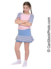 Offended girl isolated on a white background - The offended...