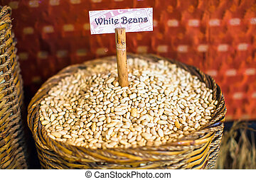 White beans in a large sack