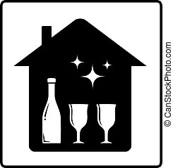home with bottle and glass