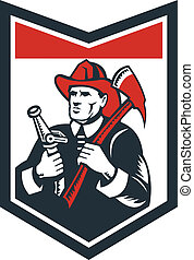 Fireman Firefighter Carry Axe Hose Shield Woodcut -...