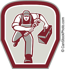 Plumber Carry Toolbox Wrench Running Retro - Illustration of...