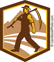 Organic Farmer Walking Holding Scythe Retro - Illustration...