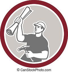 costruzione, costruttore, carpentiere, piano, martello,  retro