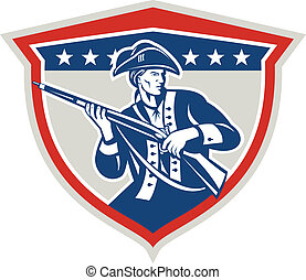 American Patriot Holding Musket Rifle Shield Retro -...