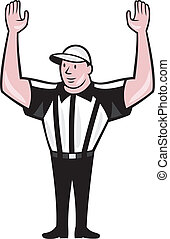 American Football Referee Touchdown Cartoon - Illustration...