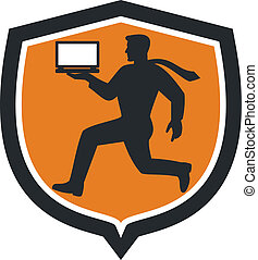 Computer Technician Carrying Laptop Running Shield -...