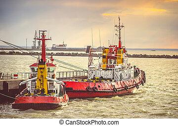 rojo, barcos, mar, puerto, transporte, estrecho, Kerch,...