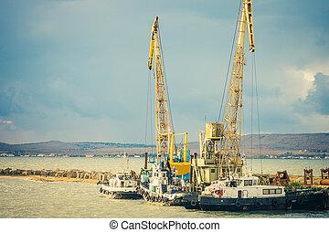 mar, puerto, grúa, barcos, carga, industrial, construcción,...