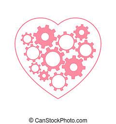 Heart with gears inside