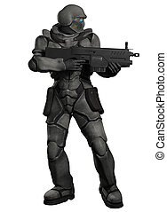 Space Marine Trooper with Rifle - Futuristic sci-fi space...